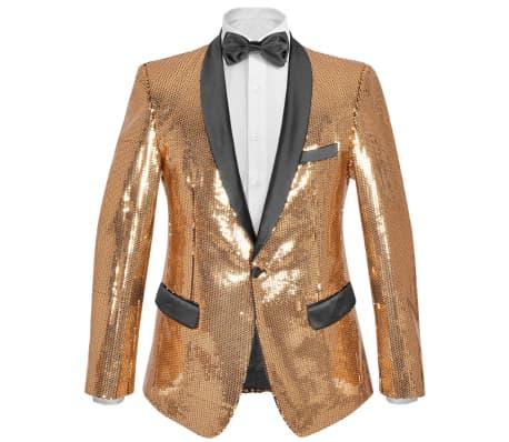 vidaXL Vyriškas švarkas su blizgučiais Tuxedo, aukso spalva, dydis 52[1/5]