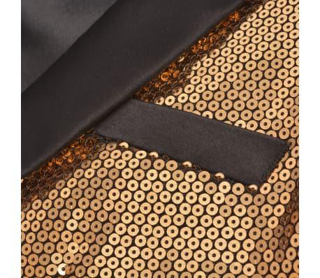 vidaXL Vyriškas švarkas su blizgučiais Tuxedo, aukso spalva, dydis 52[2/5]