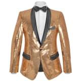 vidaXL Vyriškas švarkas su blizgučiais Tuxedo, aukso spalva, dydis 54