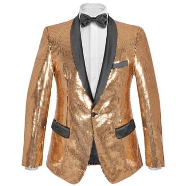 vidaXL Vyriškas švarkas su blizgučiais Tuxedo, aukso spalva, dydis 54[1/5]