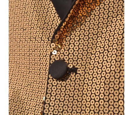 vidaXL Vyriškas švarkas su blizgučiais Tuxedo, aukso spalva, dydis 54[3/5]