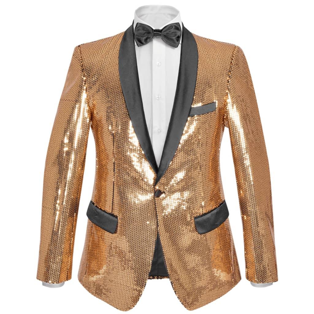 vidaXL Sacou de ocazie pentru bărbați, cu paiete, mărime 56, auriu poza 2021 vidaXL