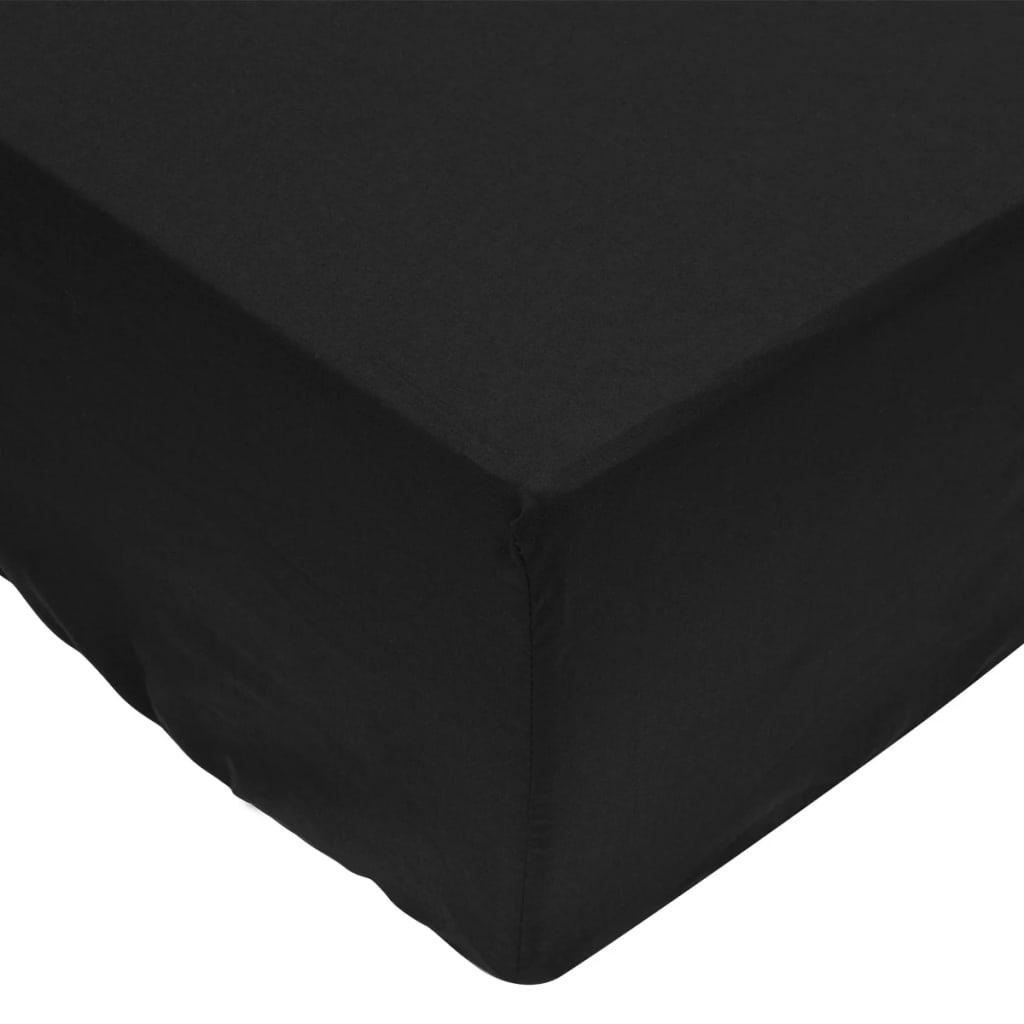 vidaXL Σεντόνια με Λάστιχο 2 τεμ. Μαύρα 90 x 220 εκ. Βαμβακερά