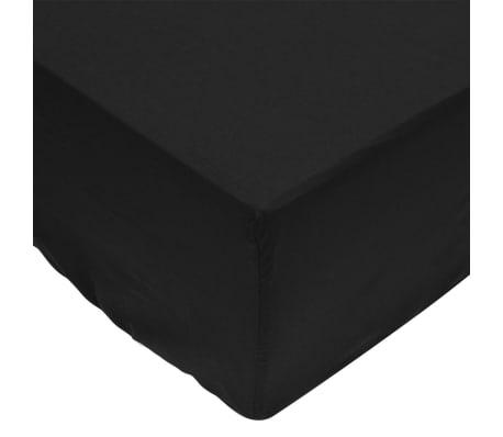 vidaXL Dra-på-lakan 2 st bomull 160x200 cm svart