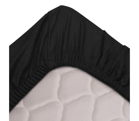 vidaXL Dra-på-lakan 2 st bomull 160x200 cm svart[2/4]