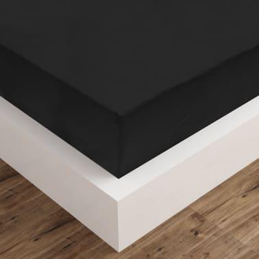 vidaXL Dra-på-lakan 2 st bomull 160x200 cm svart[4/4]