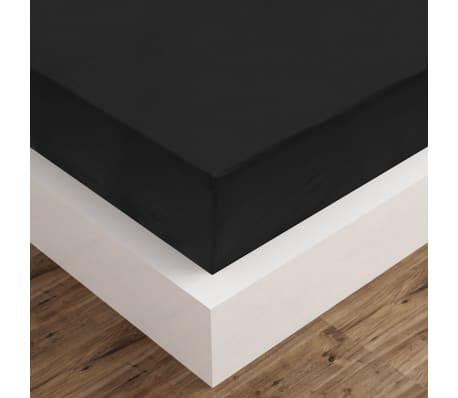 vidaxl spannbettlaken 2 st ck 200x220 cm baumwolle schwarz zum schn ppchenpreis. Black Bedroom Furniture Sets. Home Design Ideas
