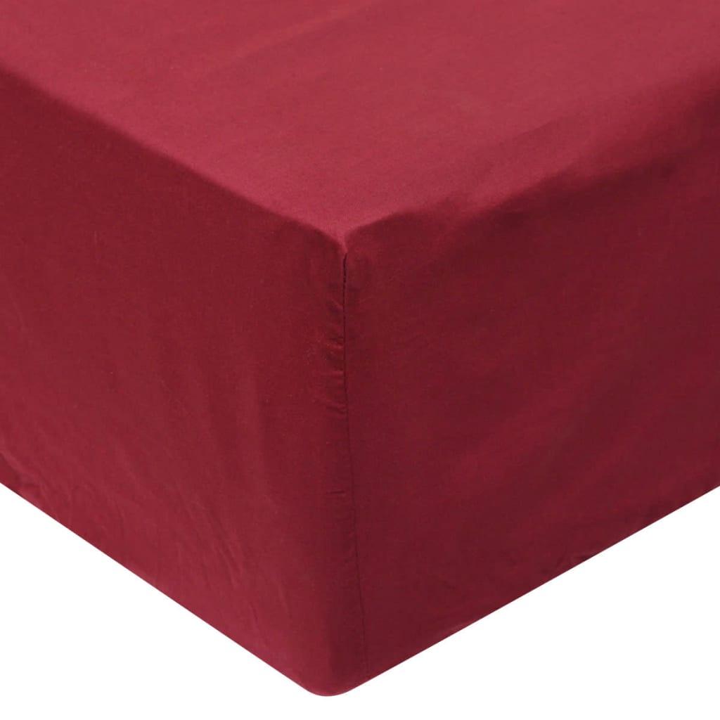 vidaXL Cearșafuri pliabile din bumbac, 90 x 220 cm, burgundy, 2 buc. poza 2021 vidaXL