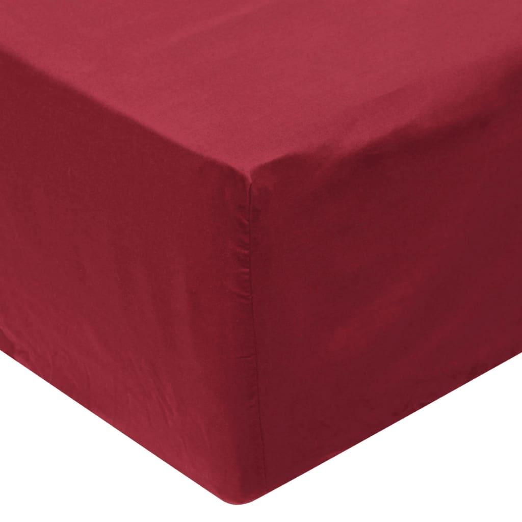 vidaXL Cearșafuri pliabile din bumbac, 140 x 200 cm, burgundy, 2 buc. poza 2021 vidaXL