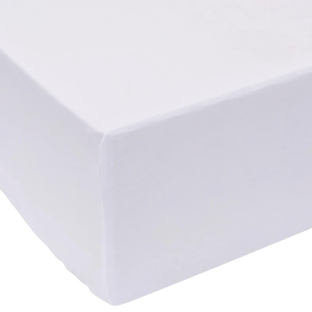 vidaXL Cearșafuri pliabile din bumbac, 90 x 220 cm, alb, 2 buc. vidaxl.ro
