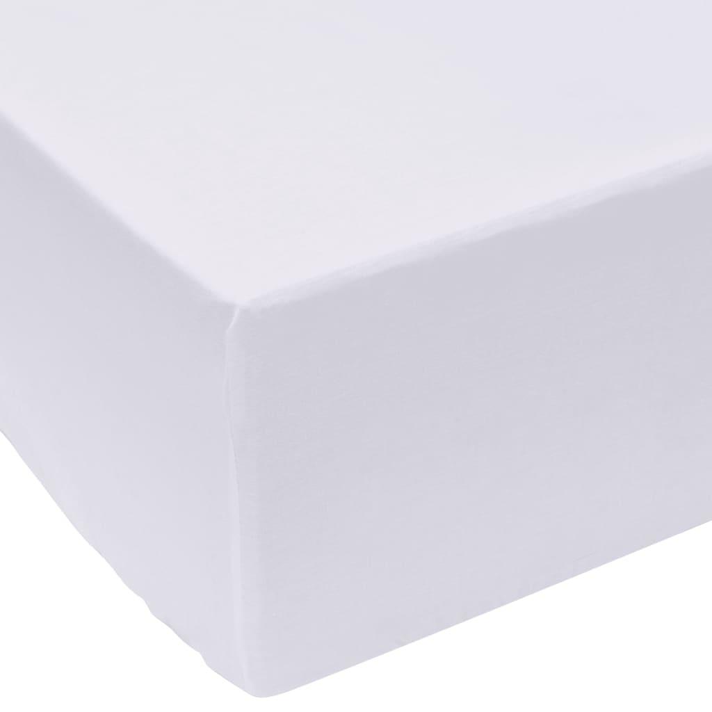 vidaXL Cearșafuri pliabile din bumbac, 160 x 200 cm, alb, 2 buc. imagine vidaxl.ro