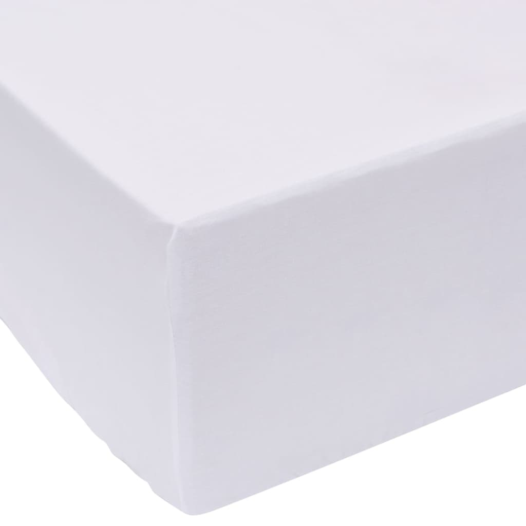 vidaXL Cearșafuri pliabile din bumbac, 200 x 220 cm, alb, 2 buc. imagine vidaxl.ro