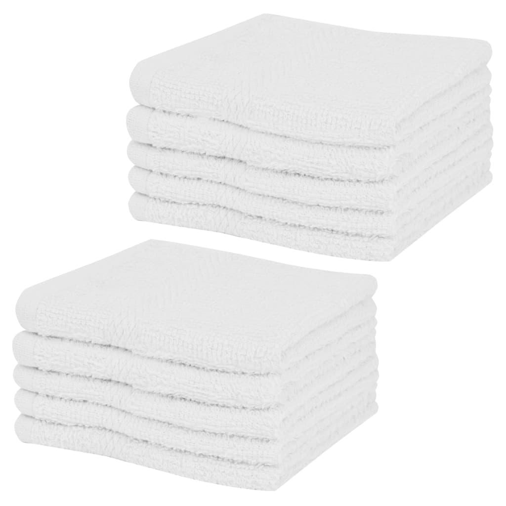 vidaXL Ručník pro hosty 10 ks 100% bavlna, 360 g/m² 30x30 cm bílá