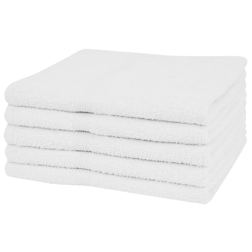 vidaXL Set prosoape de duș, 5 buc, bumbac, 360 g/m², 70 x 140 cm, alb vidaxl.ro