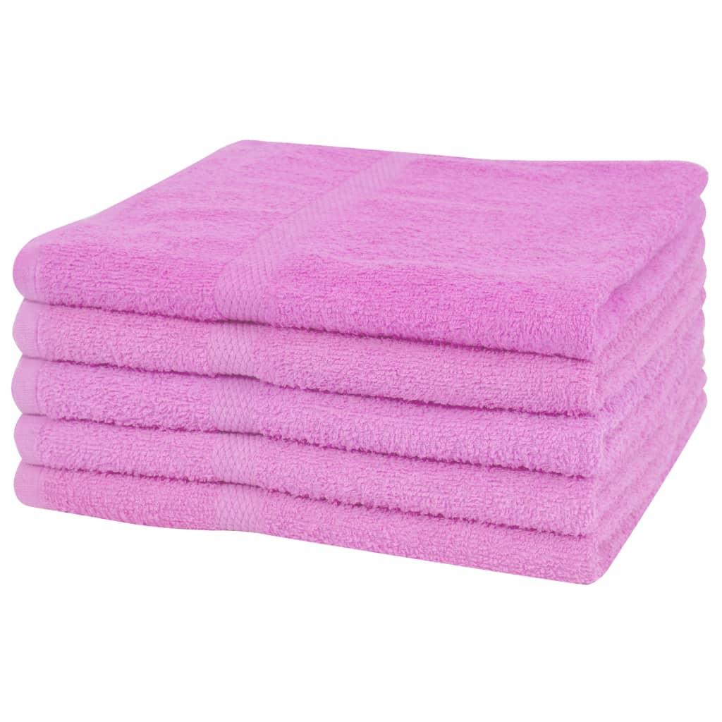 vidaXL Set prosoape de duș, 5 buc, bumbac, 360 g/m², 70 x 140 cm, roz poza 2021 vidaXL
