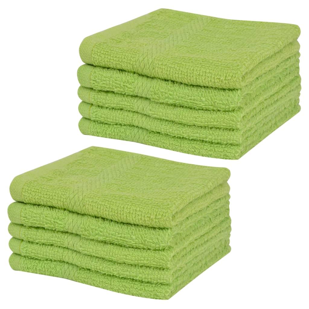 vidaXL Set prosoape oaspeți, 10 buc, bumbac, 360 g/m², 30x30 cm, verde vidaxl.ro