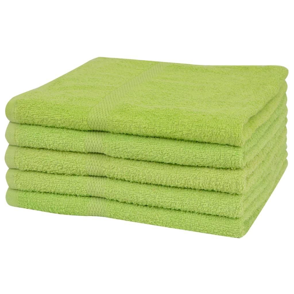 vidaXL Set prosoape duș, 5 buc, bumbac, 360 g/m², 70 x 140 cm, verde vidaxl.ro