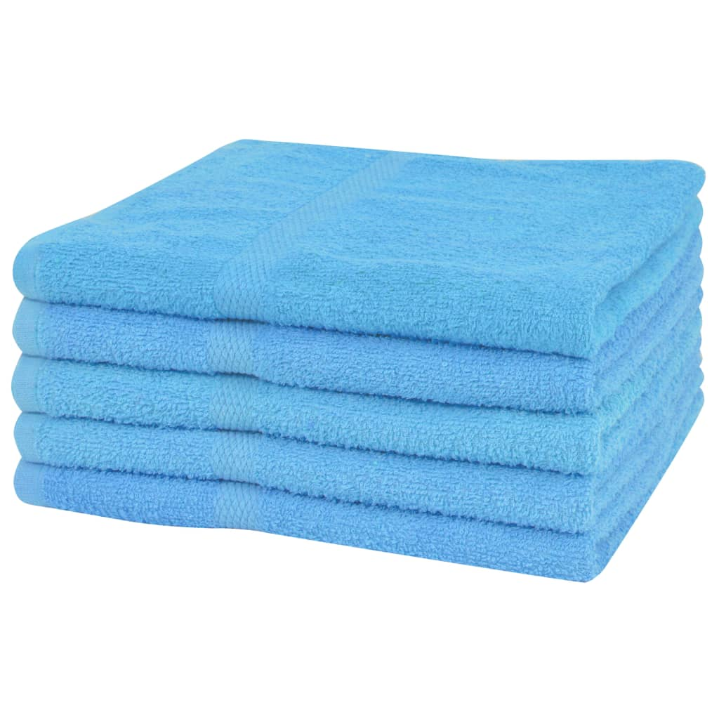 vidaXL Set prosoape baie 5 buc, bumbac, 360 g/m², 100x150 cm, albastru vidaxl.ro