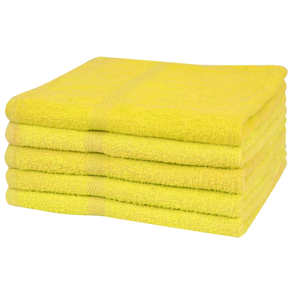 Afbeelding van vidaXL Handdoekenset 360 g/m² 50x100 cm katoen geel 5-delig