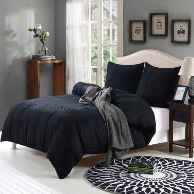 vidaXL Bäddset i bomullssatin 2 delar 155x220/80x80 cm svart[2/4]