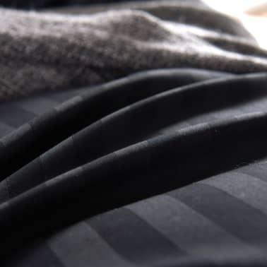vidaXL Bäddset i bomullssatin 2 delar 155x220/80x80 cm svart[3/4]
