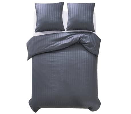 vidaxl 3 tlg bettw sche set baumwollsatin 200x220 60x70 cm anthrazit g nstig kaufen. Black Bedroom Furniture Sets. Home Design Ideas