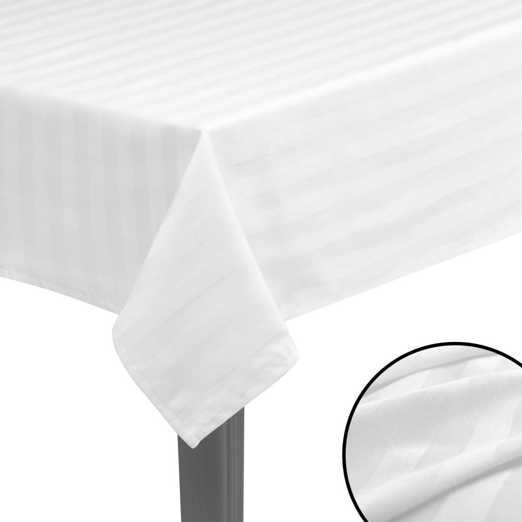 vidaXL Fețe de masă 5 buc, bumbac satinat, alb, 130 x 220 cm poza 2021 vidaXL