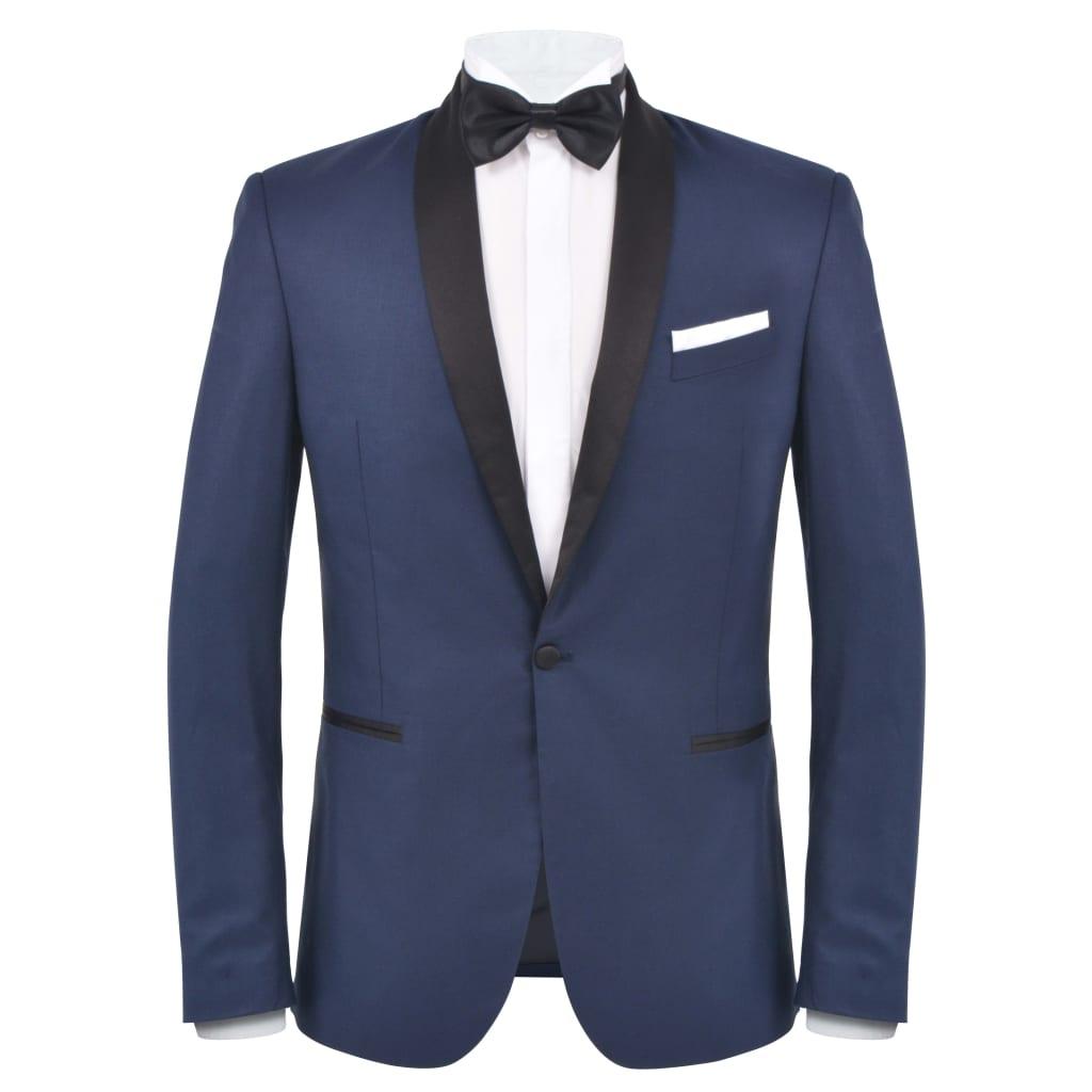 vidaXL Pánský dvoudílný večerní oblek/smoking vel.52, námořnická modrá
