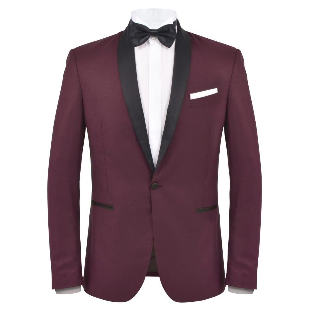 vidaXL Pánský dvoudílný večerní oblek/smoking vel.46, vínový