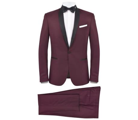 vidaXL vīriešu uzvalks, smokings, divdaļīgs, 52. izmērs, vīnsarkans