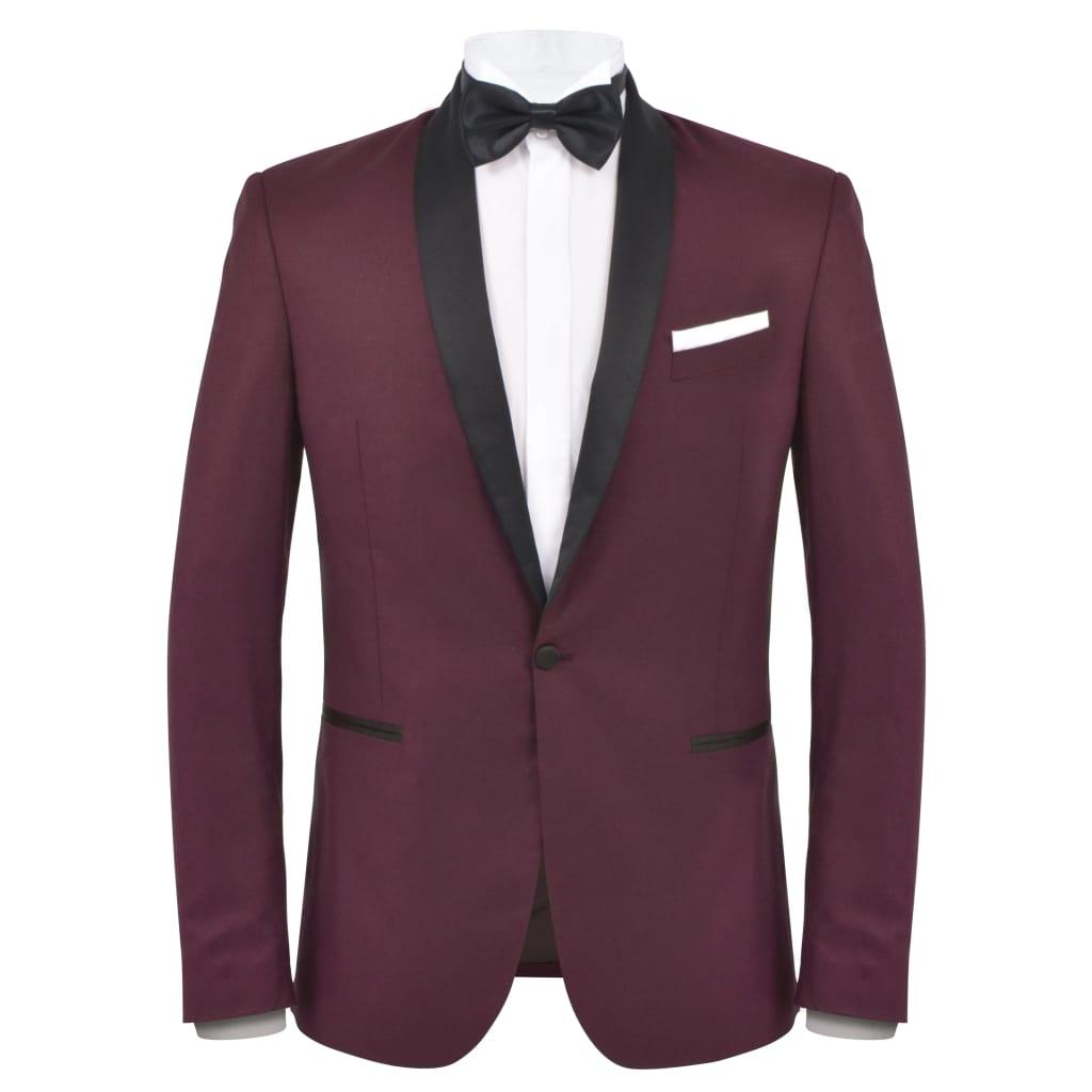 vidaXL Pánský dvoudílný večerní oblek/smoking vel.52, vínový