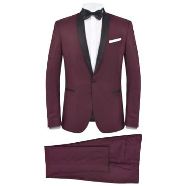 vidaXL Smoking/Costum de seară bărbătesc 2 piese mărime 54 burgundy[1/10]