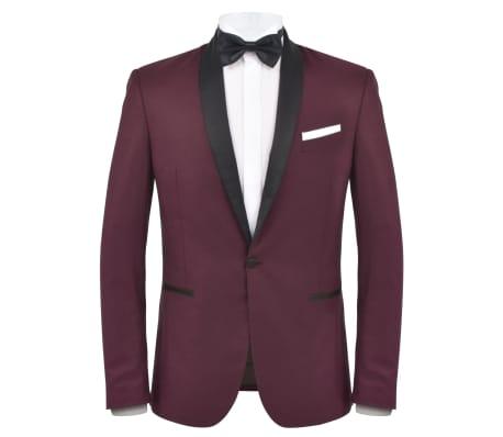 vidaXL Smoking/Costum de seară bărbătesc 2 piese mărime 54 burgundy[2/10]