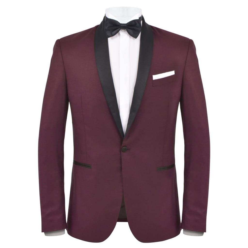 vidaXL Pánský dvoudílný večerní oblek/smoking vel.56, vínový