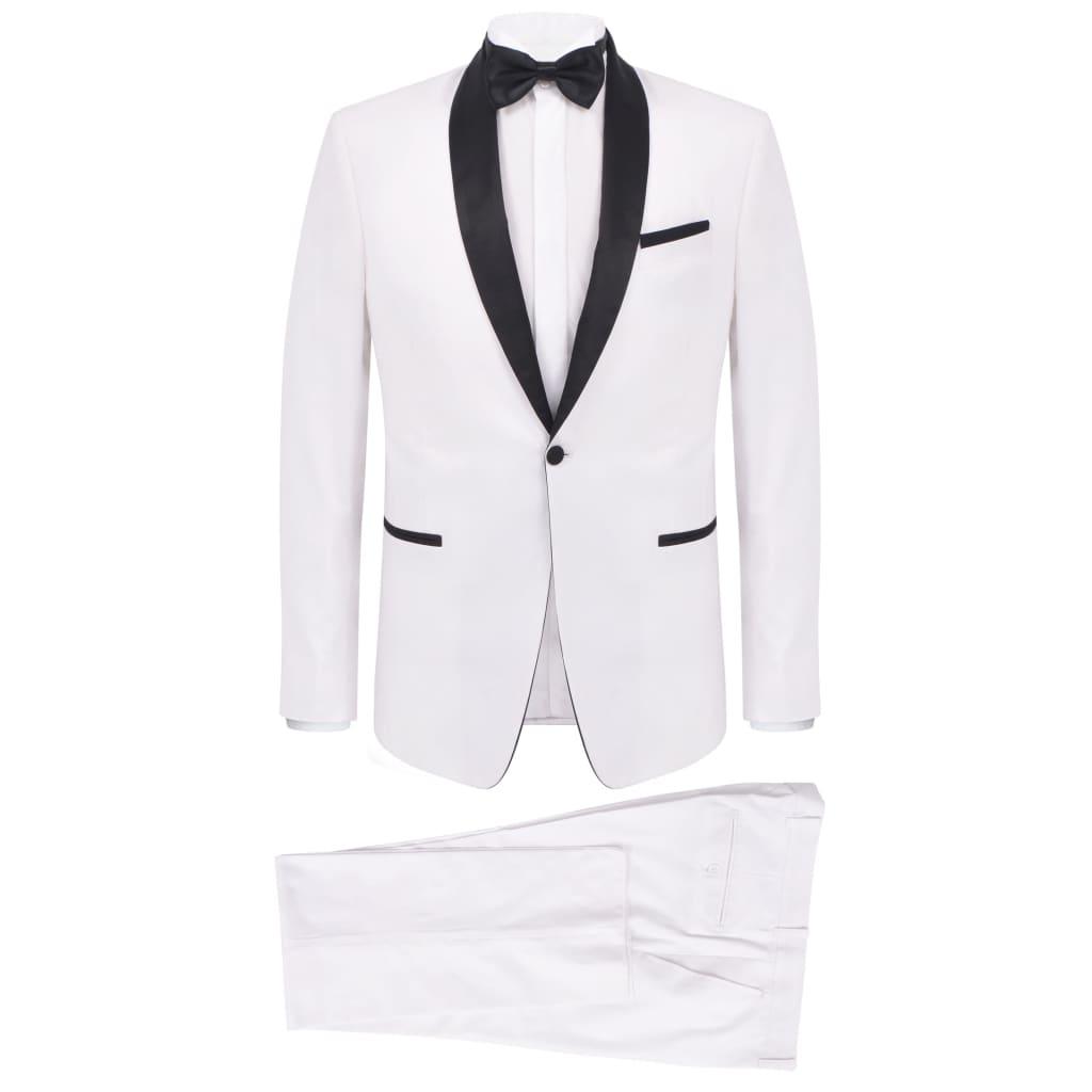999132193 Zweiteiliger Abendanzug Black Tie Smoking Herren Größe 46 Weiß