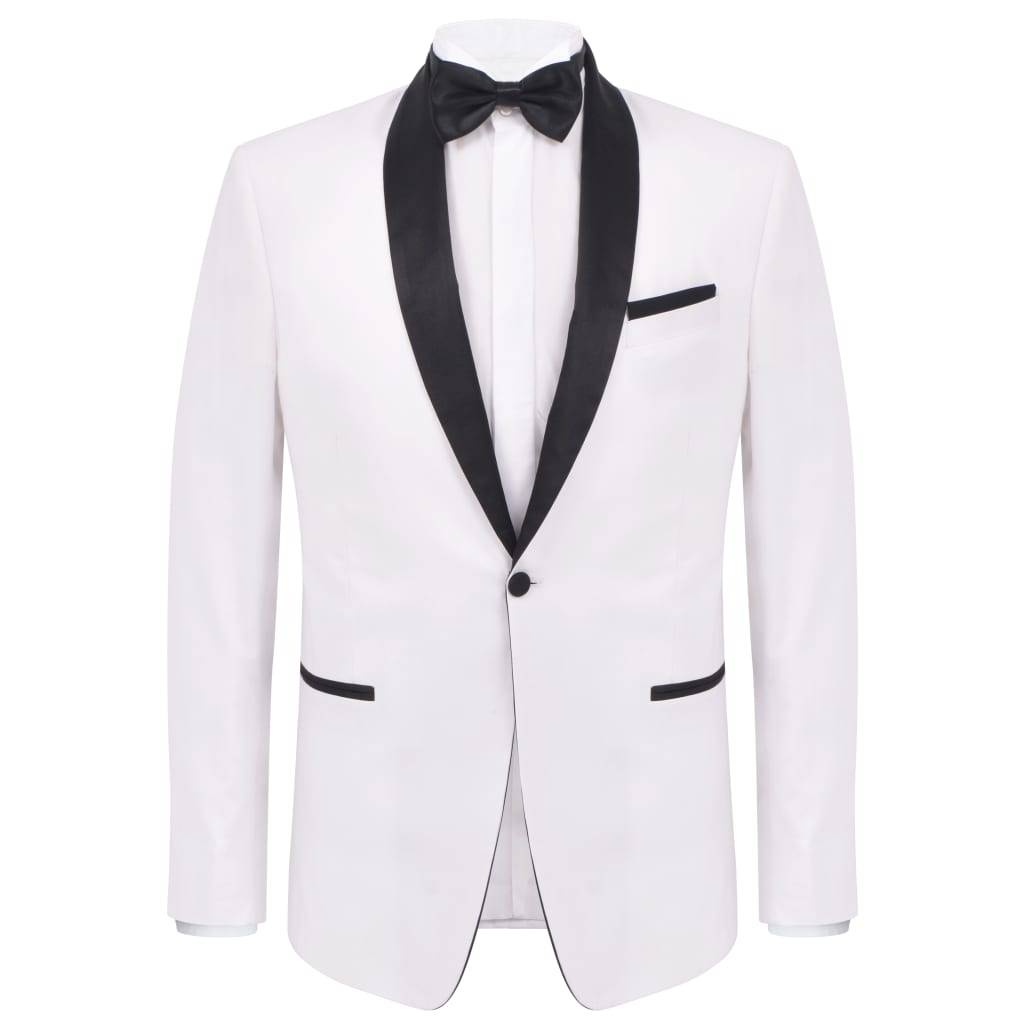 vidaXL Pánský dvoudílný večerní oblek/smoking vel.46, bílý