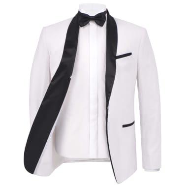 vidaXL Frac/Costum de seară bărbătesc, 2 piese, mărime 54 alb[3/10]