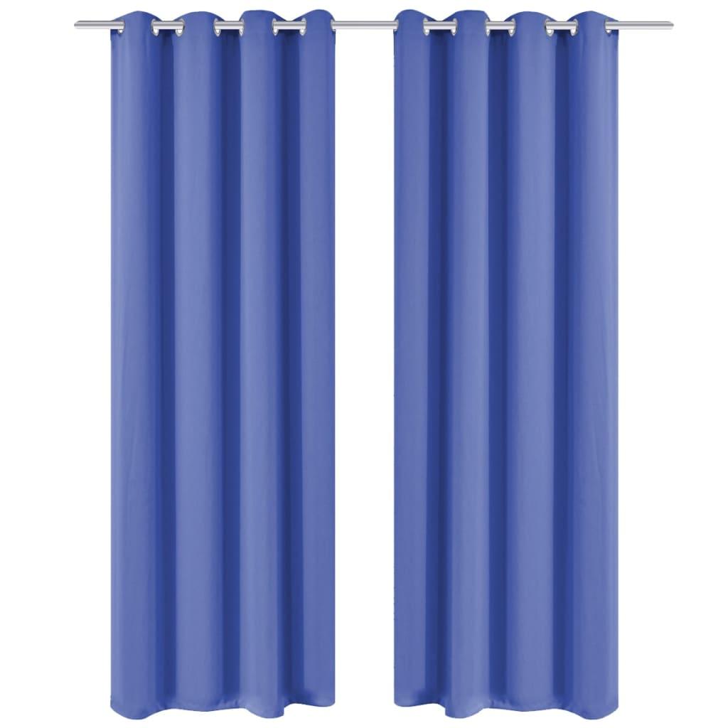 Zatemňovací závěsy s kovovými oky, 2 ks, 135x175 cm, modrá