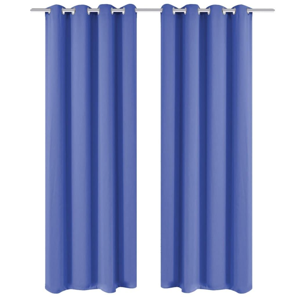 999132211 Verdunkelungsvorhänge 2 Stk. mit Metallösen 135 x 245 cm Blau
