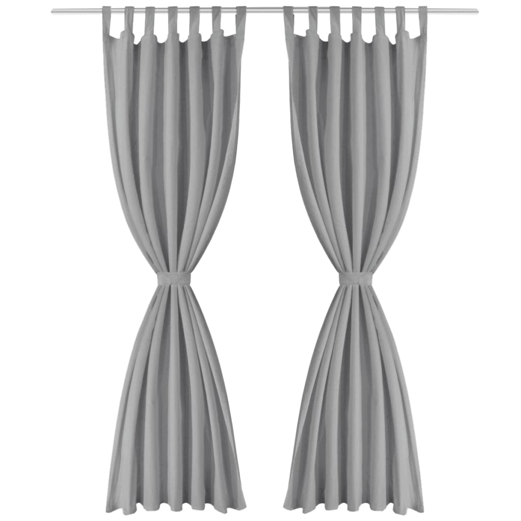 vidaXL Mikrosaténové závěsy s poutky, 2 ks, 140x175 cm, šedé