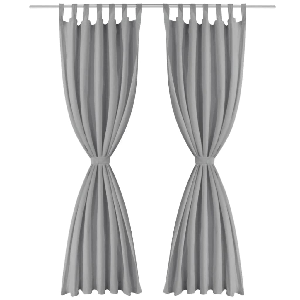 vidaXL Mikrosaténové závěsy s poutky, 2 ks, 140x225 cm, šedé