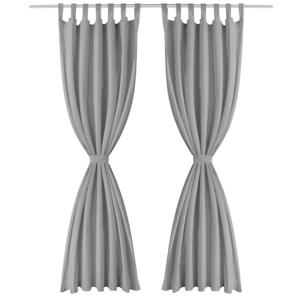 vidaXL Mikrosaténové závěsy s poutky, 2 ks, 140x245 cm, šedé