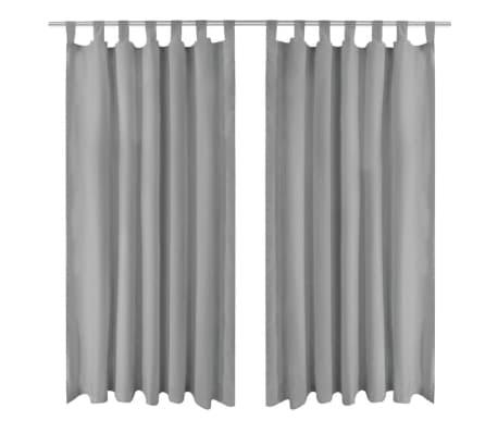 acheter vidaxl rideau occultant avec boucles 2 pcs 140 x 245 cm gris pas cher. Black Bedroom Furniture Sets. Home Design Ideas