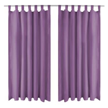 vidaXL Draperii micro-satin cu bride, 2 buc, 140 x 245 cm, violet[1/4]