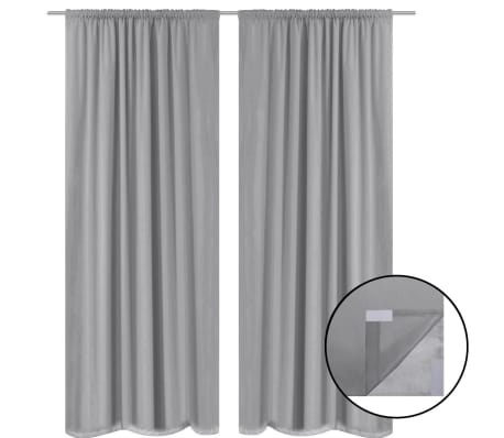 vidaXL Blackout Curtains 2 pcs Double Layer 140x175 cm Grey