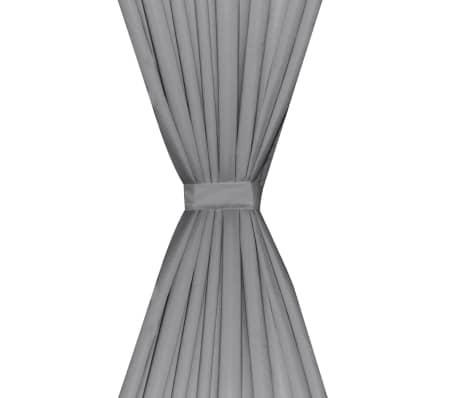 vidaXL Verdunkelungsvorhänge 2 Stk. Doppellagig 140 x 245 cm Grau[4/5]