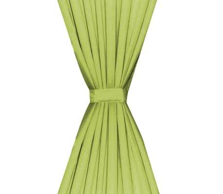 vidaXL Zatemňovací závěsy, 2 ks, dvouvrstvé, 140x245 cm, zelené[4/5]