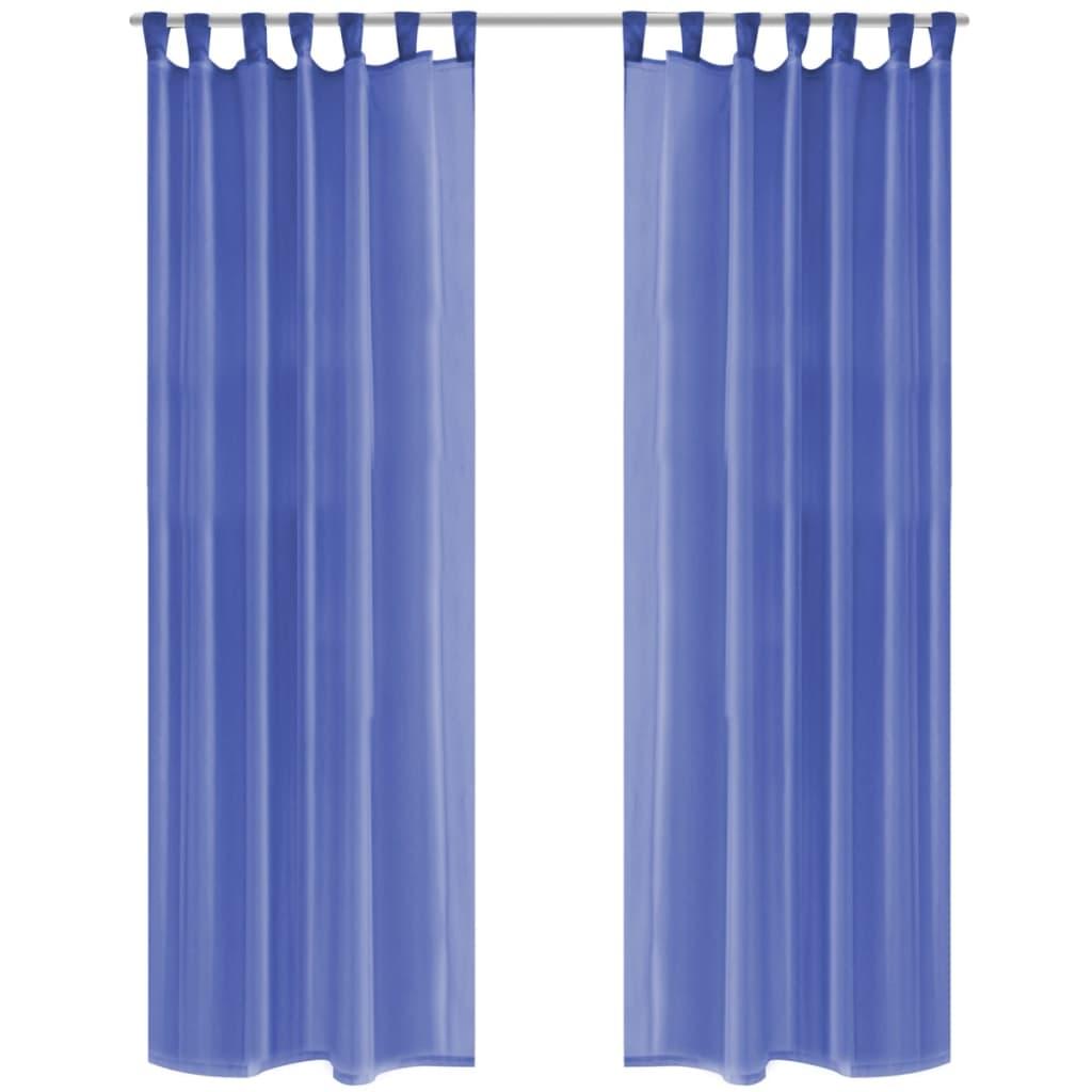 Voálové závěsy, 2 ks, 140x175 cm, královská modř