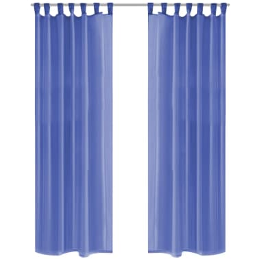 vidaXL Draperii din voal, 2 buc., 140 x 175 cm, albastru regal[1/5]