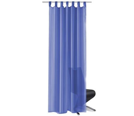 vidaXL Draperii din voal, 2 buc., 140 x 175 cm, albastru regal[2/5]